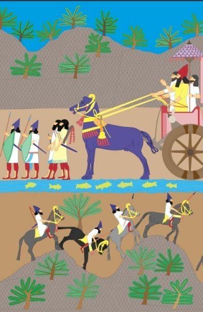 Prins Claus Fonds. Reconstructie van de kleuren op Assyrisch reliëf Illustratie: Rijksmuseum van Oudheden, Lucas Petit Tentoonstelling 'Nineveh' | 20 oktober 2017 t/m 25 maart 2018