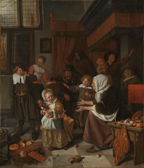 Zwarte Piet. Het Sint-Nicolaasfeest, Jan Havicksz. Steen, 1665 - 1668 olieverf op doek, h 82,0cm × b 70,5cm. Meer objectgegevens In december wordt Sinterklaas gevierd. Dat gebeurt al eeuwen op dezelfde manier. Kinderen die braaf zijn, krijgen cadeautjes van de Sint. Het meisje vooraan heeft een emmer vol. Stoute kinderen, zoals de huilende jongen links, krijgen een roe (een takkenbos) in hun schoen. Jan Steen was een geboren verteller. Hij bracht hier alle elementen van het bekende volksfeest in beeld.
