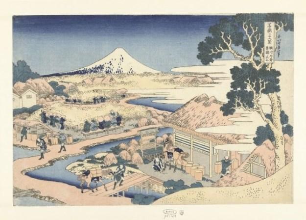 Katsushika Hokusai, Fuji vanaf de Katakura theeplantage in de provincie Suruga, 1831-1835, Rijksmuseum, Amsterdam, aankoop uit het F.G. Waller-Fonds