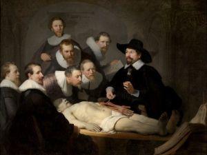 Chirurg Frank IJpma, meekijken met collega's uit 17e eeuw tijdens Anatomische les, van professor Tulp