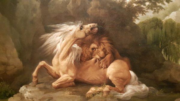 George Stubbs, een paard wordt verslonden door een leeuw, 1783, doek 69,2 x 103,5 cm, Londen, Tate, aangekocht in 1976