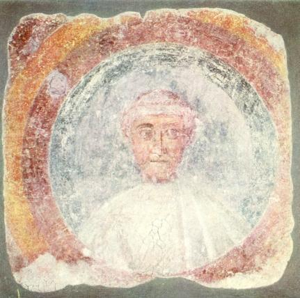 Paus Siricius, muurschilldering op sint Paulus buiten de muren