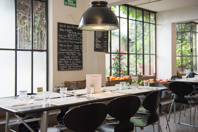 We lunchen in La Cantine, het restaurant van conceptstore Merci