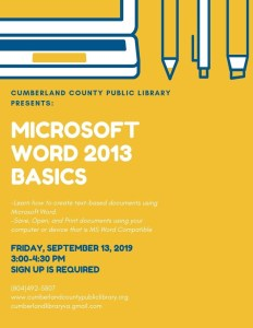 Microsoft Word 2013 Basics @ Cumberland County Public Library