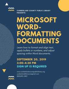 Microsoft Word: Formatting Documents @ Cumberland County Public Library