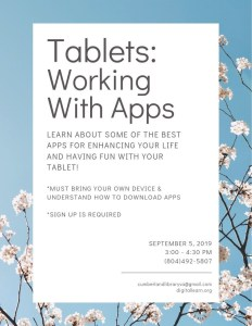 Tablets: Working With Apps @ Cumberland County Public Library