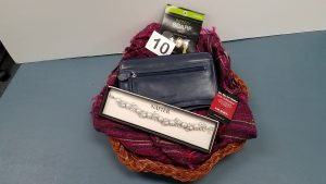 Navy Safekeeper My Big Fat Wallet, plum Infinity Scarf, and bracelet - Retail Value $92