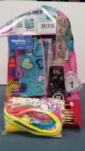 Girl's Backpack Bundle - backpack, Skullcandy earbuds, jump rope, 12 pencils in a pencil case, colored pencils, ruler and a $25 Walmart gift card - Retail Value $50.