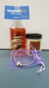 Teen Girl's Gift Pack - 1 bottle of Bath & Body Works Citrus Sugar CookiefFoaming hand soap, 1 Cinnamon Spiced Vanilla candle, a bracelet in an organza bag and a $25 Walmart gift card - Retail Value $50.