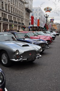 A gaggle of Aston DBs & V8s