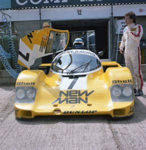 Joest Racing 956 104 driven by Klaus Ludwig and Henri Pescarolo. Ludwig standing by the car.
