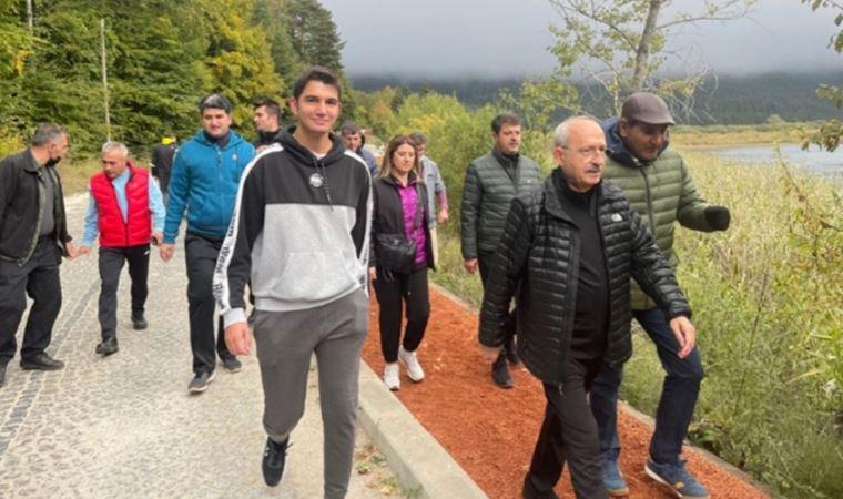 CHP lideri Kılıçdaroğlu Abant Gölü'nde yürüyüş yaptı, gazetecilere konuştu