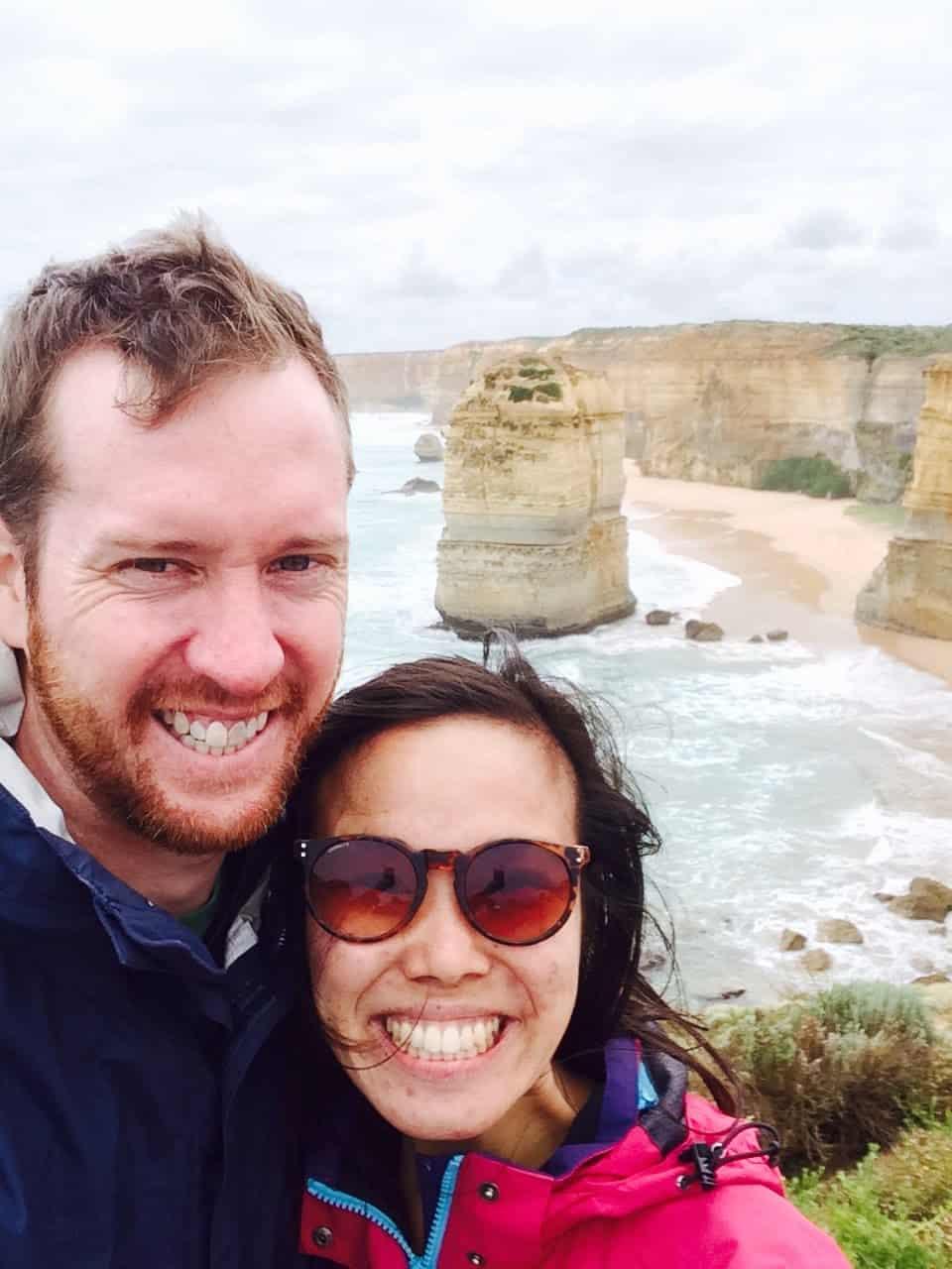 Sarah and Steve at the 12 apostles in Australia