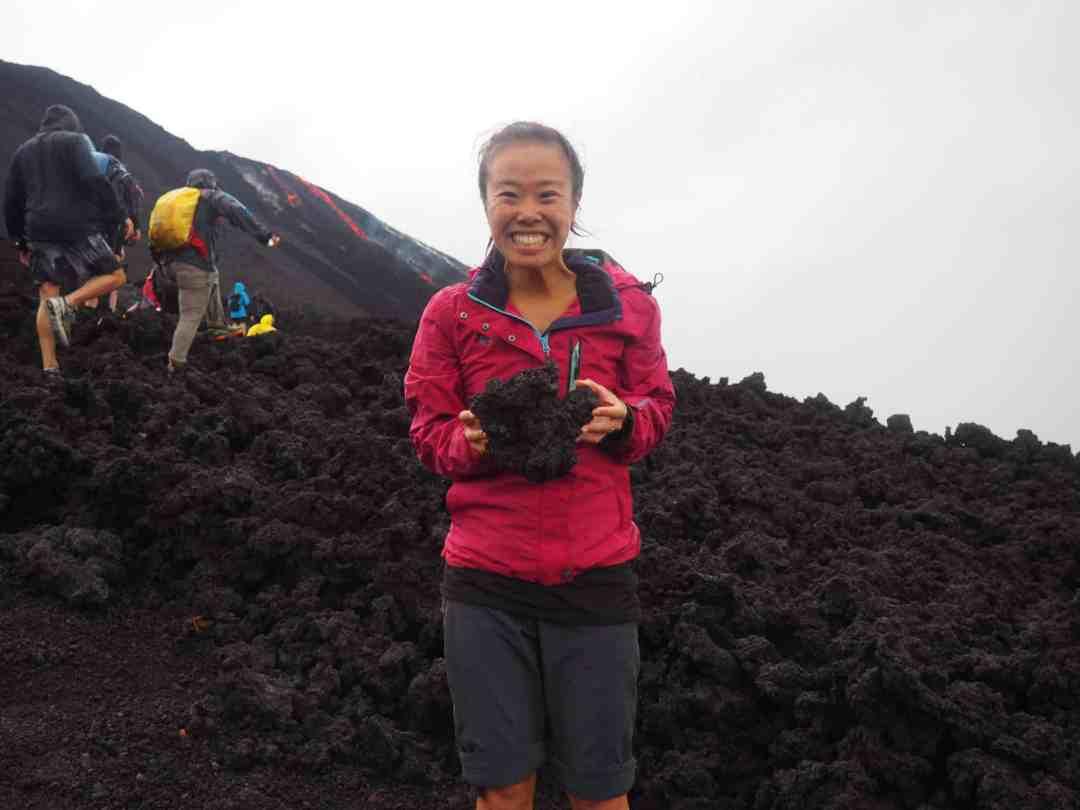 Sarah with a lava rock