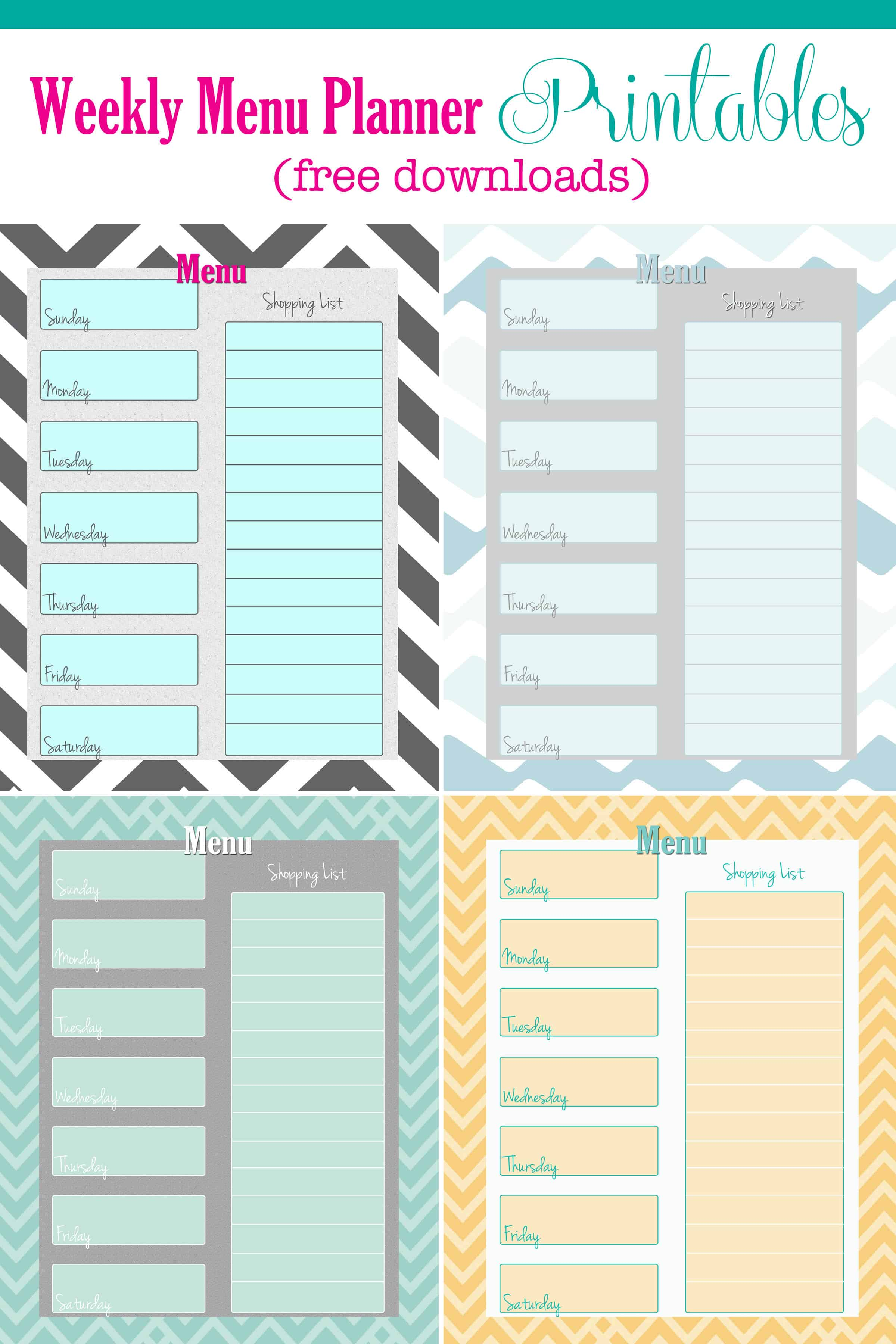 Free Weekly Menu Planner Printable 4 Colors
