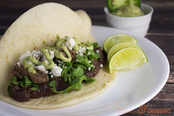 Easy Steak Tacos with Lime, Cheese, and Black Beans