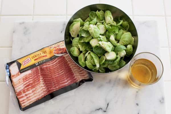 ingredients to make braised brussels sprouts with bacon
