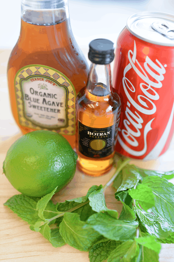 What-you-need-to-make-a-cokejito - a mojito cocktail made with Coca-Cola