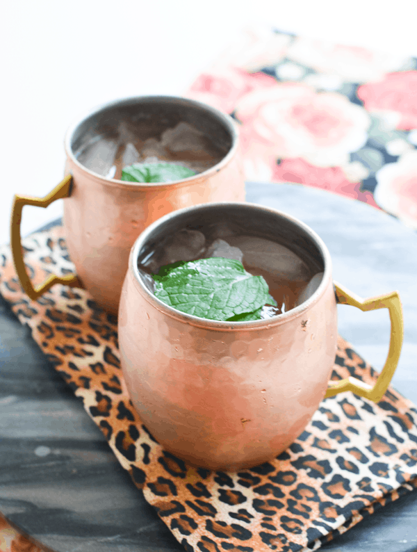 Strawberry Moscow Mule Recipe with Mint in copper mugs.
