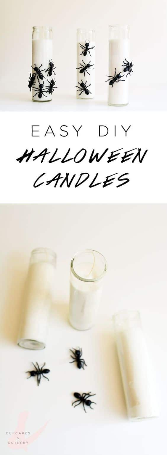 These easy homemade Halloween candles make the perfect creepy decoration! Plus they're cheap to make and can be made with items from the dollar store!