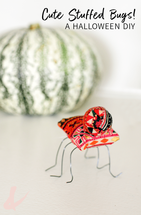 Looking for non scary Halloween crafts? Try these easy fabric stuffed bugs! They make a great party decoration for the house and are so cute!