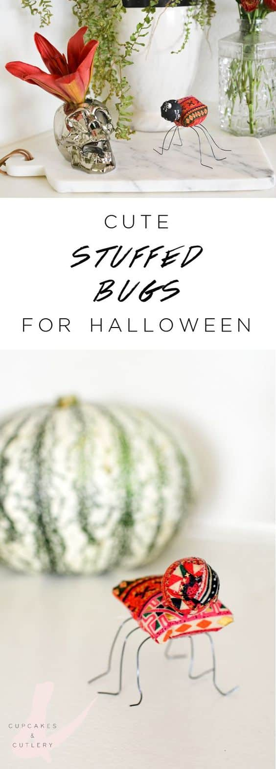 These easy DIY stuffed fabric bugs are the perfect Halloween crafts for a cute decoration. Your children will love this fun idea.