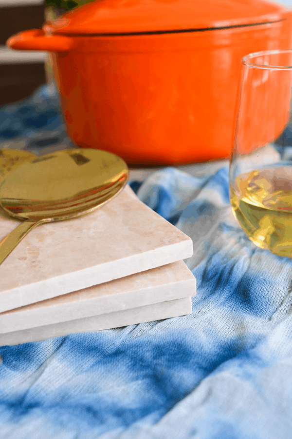 DIY Tile Trivets on a holiday table.