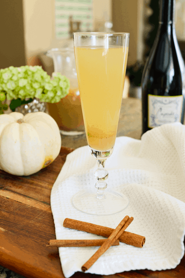 Champagne and pear juice simmered with spices make delicious pear bellinis.
