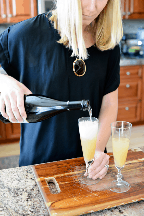 These spiced pear bellinis are the perfect celebratory winter cocktail.