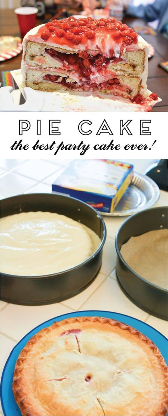 A pake! This unique dessert idea is a whole pie in each cake layer! It's a fun surprise! And because the cherry pie looks a little like guts, it's the perfect Halloween party dessert!