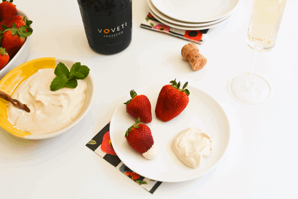 Strawberries Romanoff Dip and Prosecco