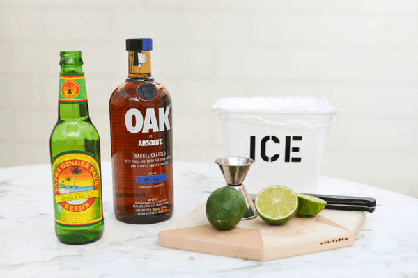 Ingredients for an Absolut Oak Moscow Mule