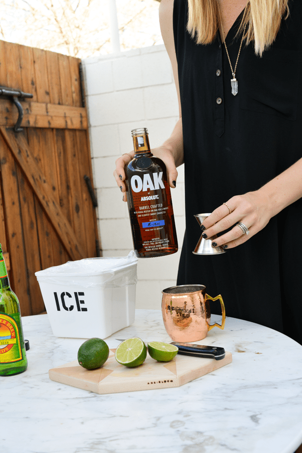 Pouring Oak by Abosolut for a Moscow Mule cocktail