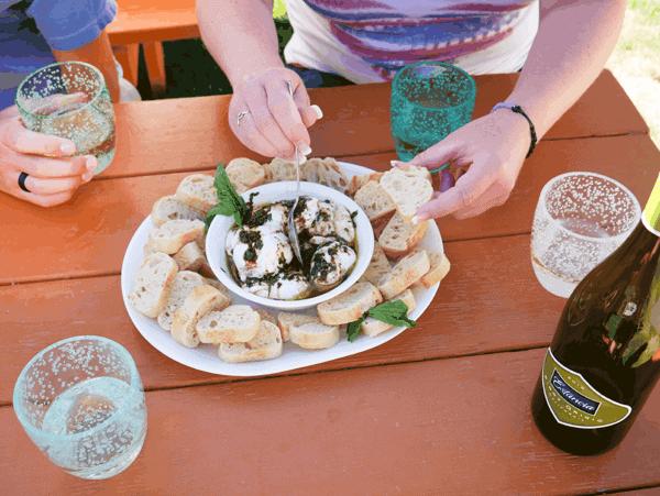 Burrata Appetizer with Basil Oil & Garlic