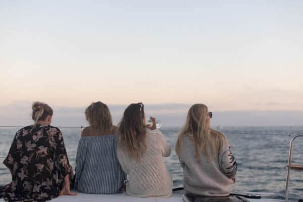 Sunset on a boat with friends
