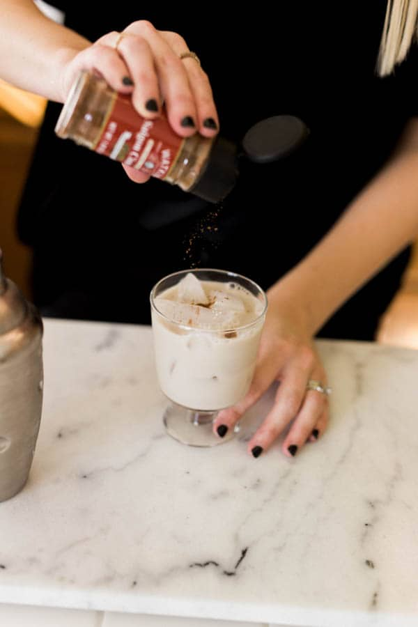 Easy Milk Punch Recipe with cinnamon and nutmeg.