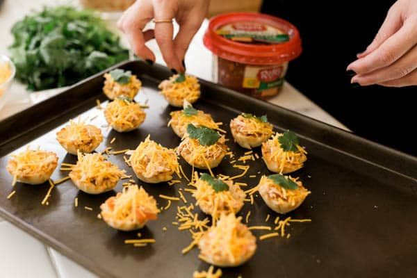 Easy appetizer idea for your game day party, Salsa Chicken Taco Cups.