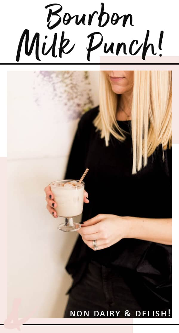Looking for a non dairy Bourbon Milk Punch recipe? Try this one with Almond milk and vanilla. #cocktails #cocktailrecipe #cupcakesandcutlery