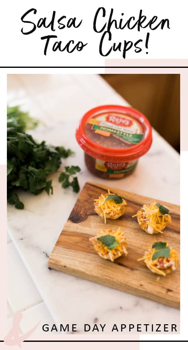 Make these easy Salsa Chicken Taco Cups appetizer for your football party. AD #appetizer #snack #cupcakesandcutlery #gameday