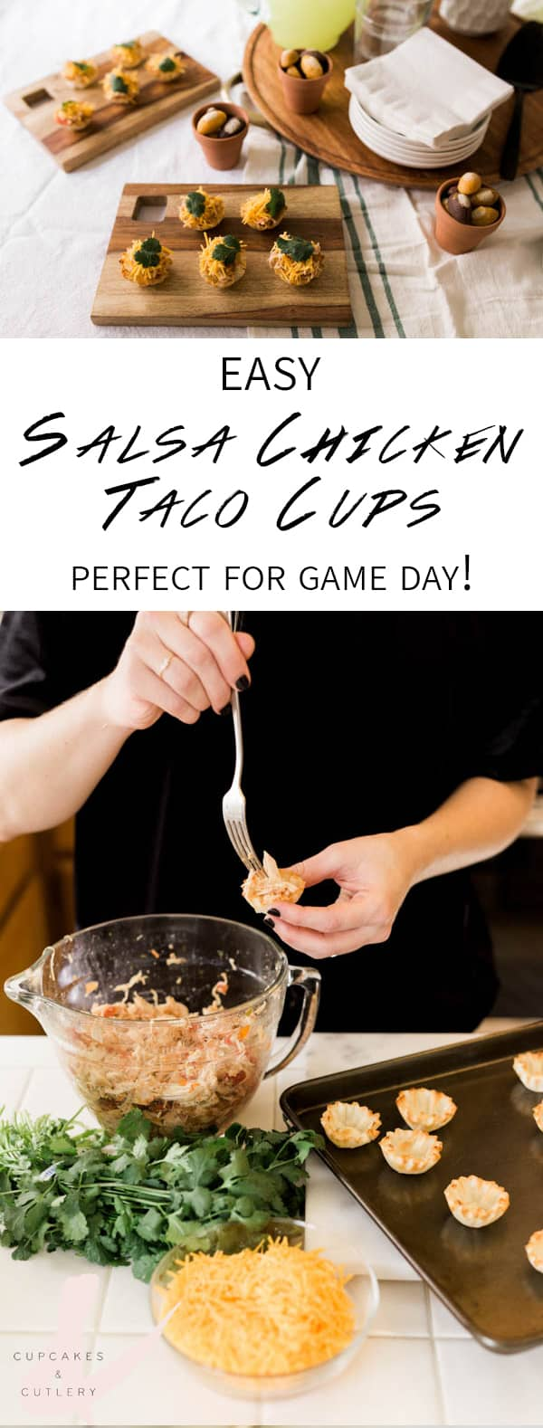 How to make easy Salsa Chicken Taco Cups for your game day appetizer. These are perfect for your football party. AD #chicken #cupcakesandcutlery #gameday #appetizer #snack