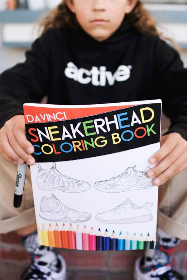Close up of Sneakerhead coloring book cover.