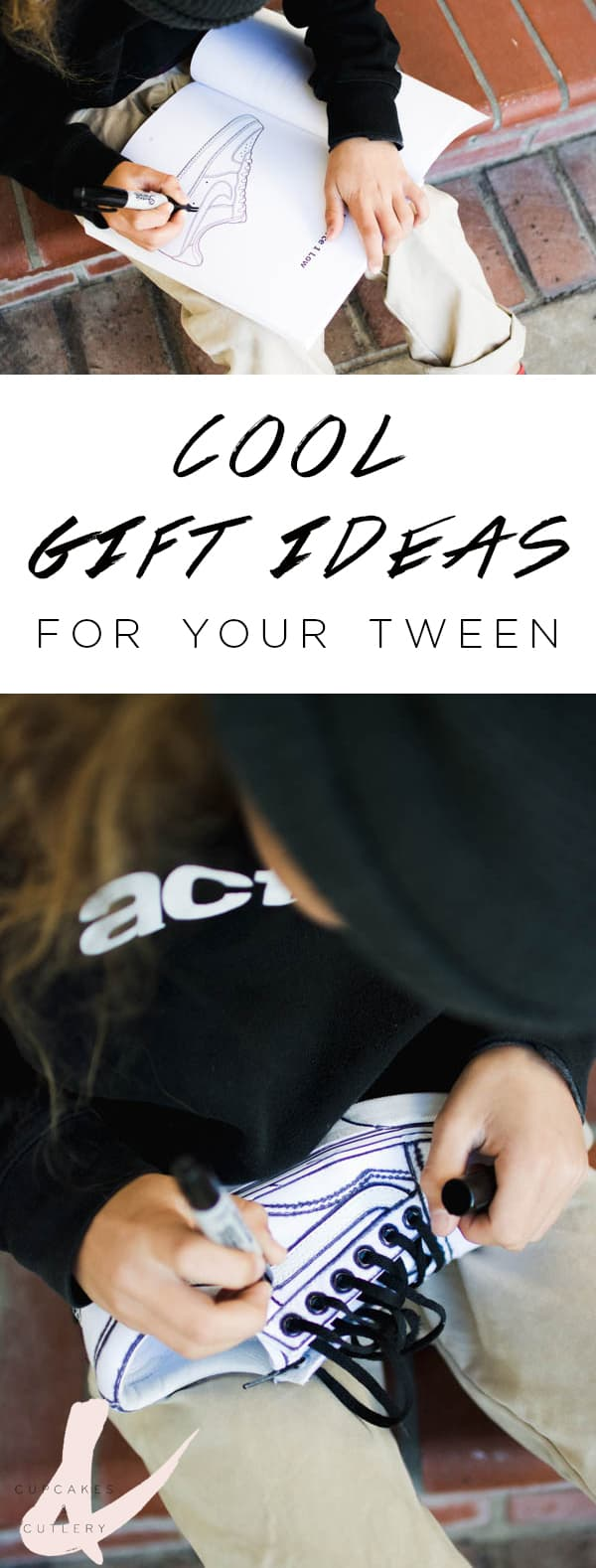 Cool gift ideas for tween boys with text overlay.