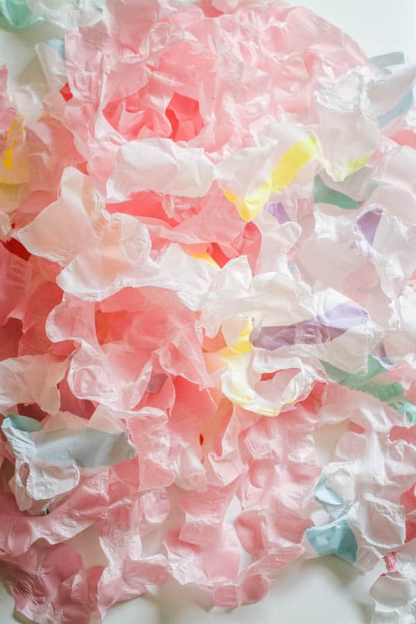 ruffled streamers from plastic tablecloths