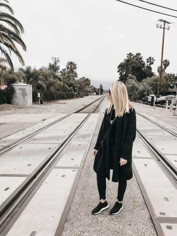 Standing on train tracks in Santa Barbara California.