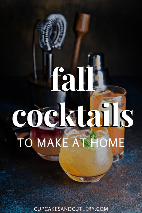 autumn cocktails with text overlay