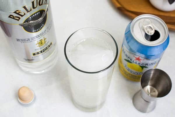 Overhead shot of an easy lemon pellegrino and vodka cocktail