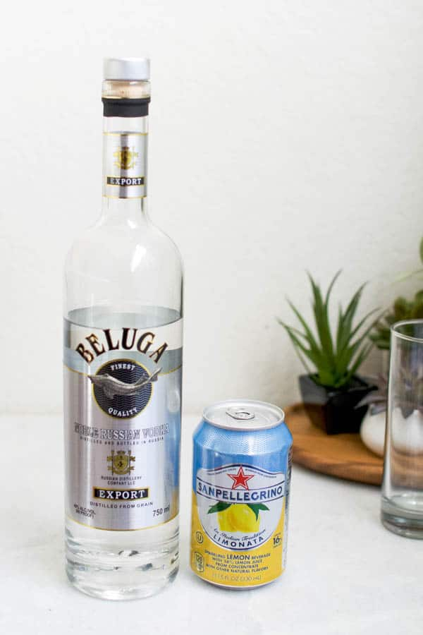 ingredients for an easy lemon san pellegrino drink with vodka