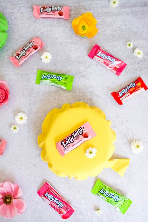Laffy Taffy and whoppee cushions to encurage kids to laugh