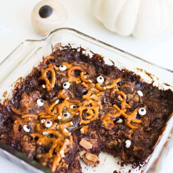 Chocolatey Halloween Dump Cake With Candy Bars