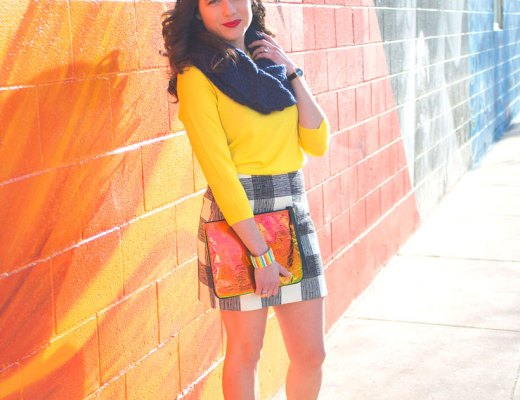 J. Crew Yellow Sweater and Madewell Check Skirt | www.cupcakesandthecosmos.com